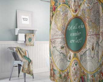 World Map Shower Curtain Historical Colorful Vintage Map  Not All Who Wander Are Lost, Bathroom Set, Bath Mat, Towels (Optional)