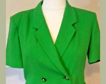 Jaeger ladies vintage lovely bright green jacket/blazer/coat with gold buttons size 16