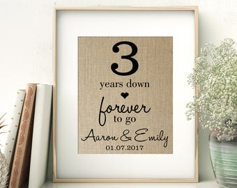 3 Years Down - Forever to Go | 3rd Third Wedding Anniversary Personalized Burlap Print | Gift for Wife Husband | Personalize for ANY Year