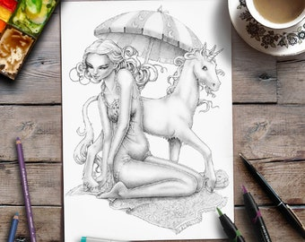 Printable Adult Coloring Page | Grayscale Colouring | Lady with Unicorn