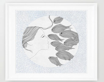 Girl and Fishes , art print of orginal drawing