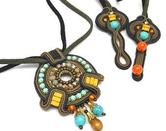 Soutache Pendant Colorful Soutache Jewelry Statement Pendant Black and Turquoise Beige Mustard Orange Gift for her Xmas Gift Soutache Set