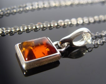 Natural Baltic Amber 925 Sterling Silver Pendant Necklace