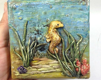 Seahorse painting, seahorse canvas painting, Nautical Wall art, nautical art, seahorse art, Polymer Clay, miniature Seahorse 4x4 canvas