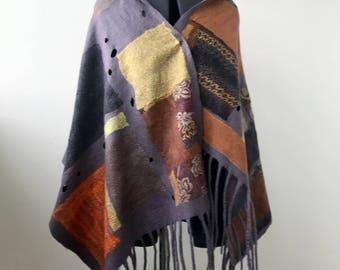 """Nuno Felted Scarf, Felted Shawl, Gray Shawl, Large Scarf, Designer Shawl, Multicolor Scarf, Poncho, Felting, Wool  Tippet  """"Geometry """""""