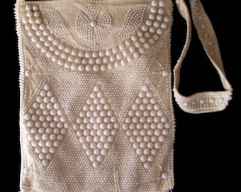Retro Roarings 20's Style White Heavy Beaded Purse W/ Fringe New Old Store Stock 1970's