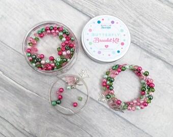 Butterfly Wrap Bracelet Craft Kit, Butterfly Craft Kit, Jewellery Making Kit, Bracelet Making Kit, Kids Crafts, Sleepover Activity