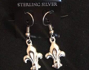 Mini handmade sterling silver fluer de lis earrings
