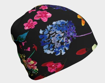 Woman's slouchy beanie - cancer hat, chemo hat for women, hair loss hat, black beanie, floral print hat, chemo headwear, soft hats, boho hat