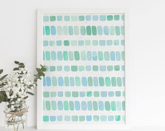 Watercolor Sea Glass, Watercolor Pebbles, Pebble Art Print, Blue Sea Glass, Abstract Print, Coastal Print, Modern Print, Sea Glass Painting