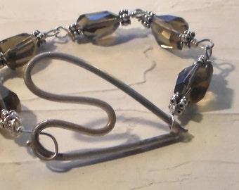 Sterling Silver Floating Heart and Smoky Quartz Bracelet