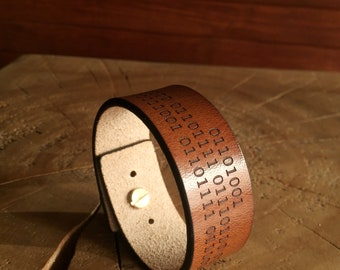 I Love You Binary Code Secret Message Leather Cuff programmer gifts wide Bracelet Mens Personalized Mens Gift Custom computer geek gifts
