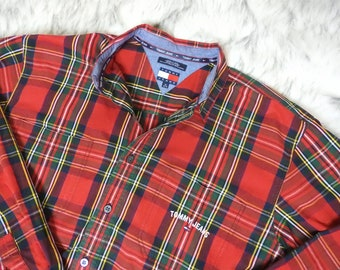 Vintage Tommy Hilfiger Jeans Spellout Flag Logo Plaid Long Sleeve Button Button Up Shirt XL Extra Large