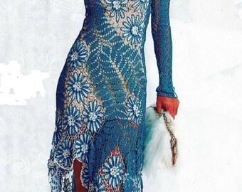 Blue crocheted dress, Irish lace dress, evening dress to order, cotton dress, order dress, lace dress, long dress.