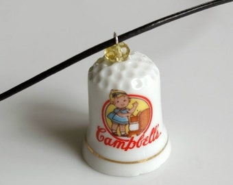 SALE Recycled Porcelain Thimble Necklace - Campbells Soup Girl