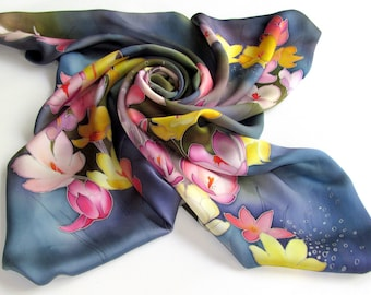 Crocus scarf, silk. Floral blue silk scarf. Hand painted silk scarf with  pink, yellow, blue painted silk. Batik handpainted scarf.