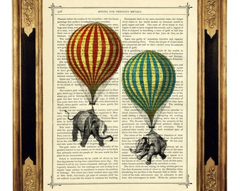 Elephants Art Hot Air Balloons Poster Steampunk Dictionary Art Print - Vintage Victorian Book Page Art Print