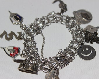 Sterling Silver Charm Bracelet 1960s and 1970s Graduation Travel