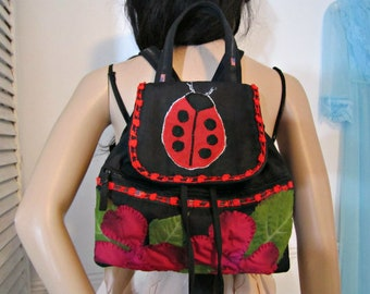 Backpack, Upcycled Backpack, Black Canvas Backpack, Textile Backpack,  Recycled Backpack