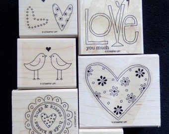 Stampin Up!  Love You Much - WM Rubber Stamp (set of 6 )