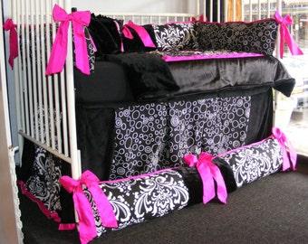 Black and White Damask Fuchsia Girl Baby Bedding Black fur Polk Dot Hot Pink
