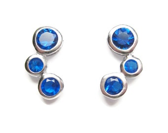 Blue CZ Earrings 925 Sterling 90s Post Studs Vintage 90s