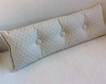 Calais Chalk on natural 9x25 Bolster/lumbar pillow available in many of our fabrics