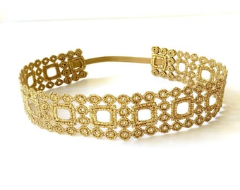 Gold Square Lace Headband, Boho Headband, Gold Lace Headband, Halo, Lace Headband, Baby Headband, Gold Headband, Newborn Headband