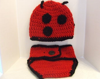 Crochet Lady Bug Dipper Cover Set