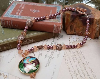 Butterfly Enameled Beaded Pendant with Mocha Pearls, Crystal, and Copper Beads