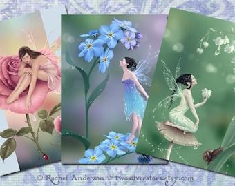 3er Set Fairy Art Grußkarten - Flower Fairies