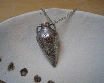 Fine Silver Greek Amphora Vessel Necklace - Weathered Vessel Pendant - Textured Amphora Necklace - Fine Silver Vessel Jewelry