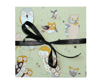leporello photo album with fabric owl
