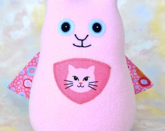 Persistent Kitten Pussy Cat Stuffed Animal, Pink Fleece, Personalized Tag, Handmade Superhero Plush Kids Baby Toddler Toy, 9 inch