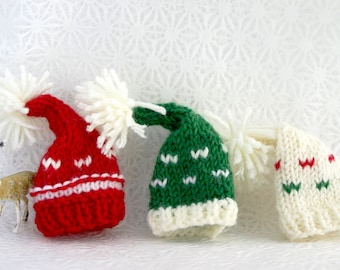 Miniature Knitted Hats- 3- Knit Elf Hats- Red, Green, Cream- Holiday, Christmas, Winter, Decor- Doll, Small Pet, Photo Prop- Made To Order