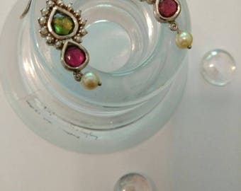 Pearl and Tourmaline Teardop Earrings