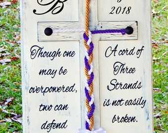 Cord of Three Strands, Wood Cross Sign, Unity Braids®, Rustic Cross Wedding, Wedding Ideas, Cross Wall Decor Christian Cross, Cord Of 3 Sign