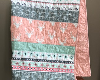 Pink and Gray Woodland Baby Quilt, Pink Deer Quilt, Woodland Girl Quilt