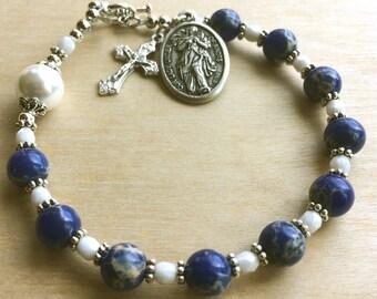CATHOLIC ROSARY Bracelet Gift / Woman's Catholic Jewelry / Mary Untier of Knots Medal / Mother Rosary / Blue Rosary Birthday Gemstone Jasper