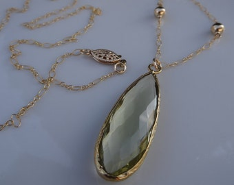 Long gold filled chain m. Green hydro-Amethyst