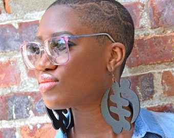 Gye Nyame // Adinkra // Afrocentric // Natural Wood Hand Stained Earrings // African and Caribbean Inspired Jewelry