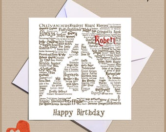 Harry Potter Card Personalised Deathly Hallows Birthday - Christmas - Anniversary - Congratulations - Any Occasion
