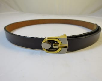 Dark Brown Leather Belt Brass Platinum Buckle Geometric Cut Out Sz Medium Vintage 1970s All Leather Skinny Belt 28-31 in Waist
