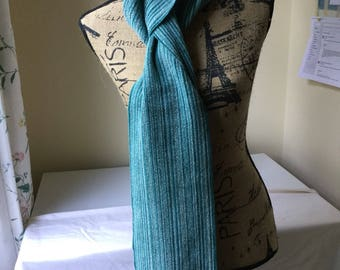 Teal blend handwoven scarf