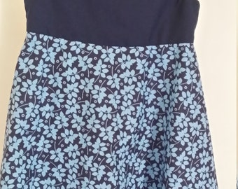 Blue flared skirt dress
