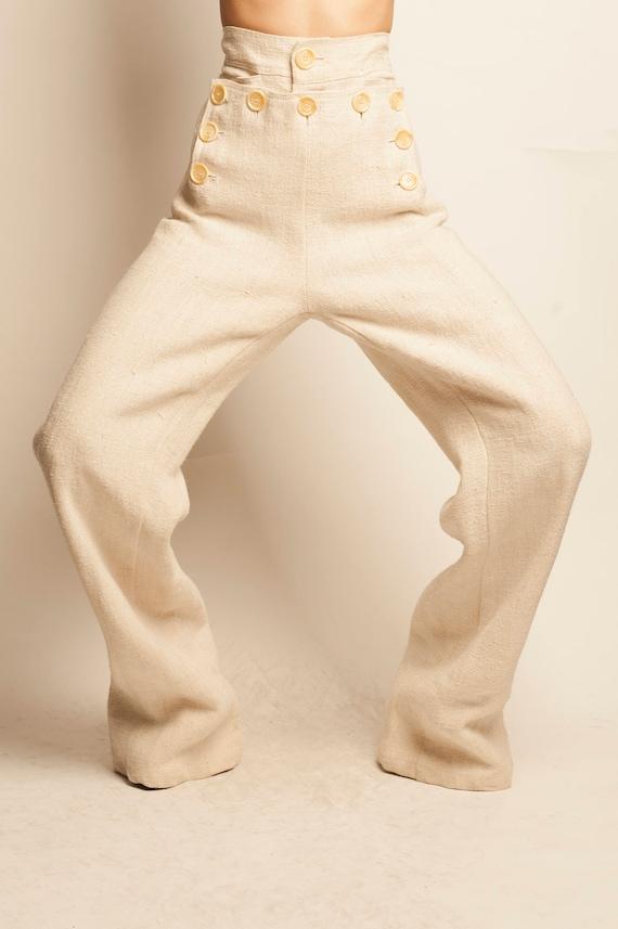 Beige linen sailor trousers
