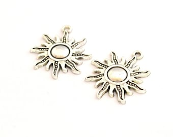 2 charms Suns ethnic silver metal 28x25mm