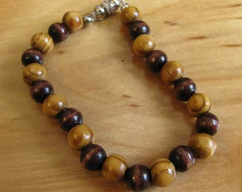 Two Toned Brown Wooden Bracelet With Magnetic Clasp
