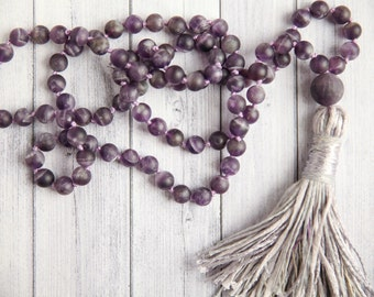 Amethyst stone necklace / Frosted Amethyst necklace / Long purple tassel necklace / Hand knotted Amethysts and tassel necklace