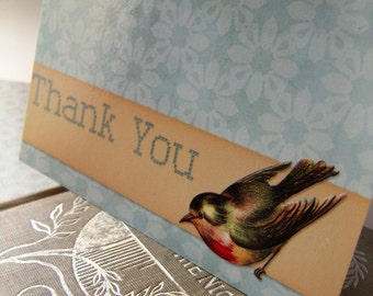 Spring Bird Thank You Card - Blank 4x5.5 Note Card, Single or Set of 4 - Blue Yellow Gold White -Cottage Shabby Chic Robin
